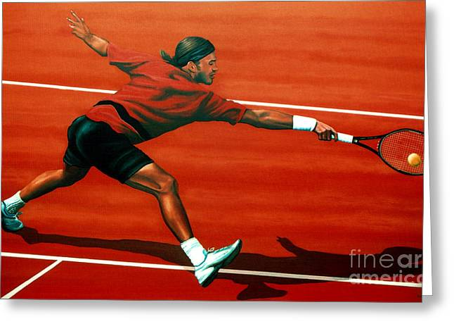 French Open Paintings Greeting Cards - Roger Federer Greeting Card by Paul  Meijering