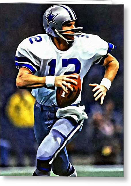 Rogers Greeting Cards - Roger Staubach Greeting Card by Florian Rodarte