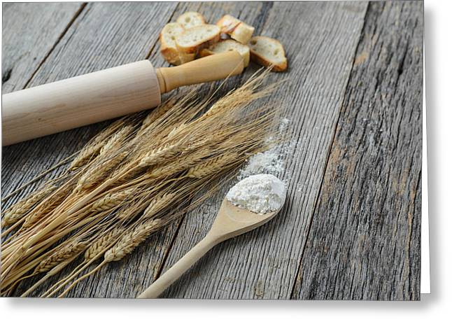 Flour Greeting Cards - Rolling Pin with Wheat Flour and Bread Greeting Card by Brandon Bourdages