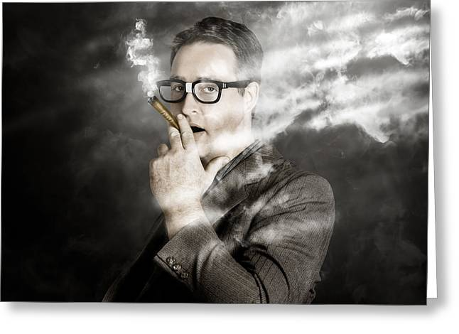 Young Money Greeting Cards - Rolling rich millionaire businessman smoking money Greeting Card by Ryan Jorgensen