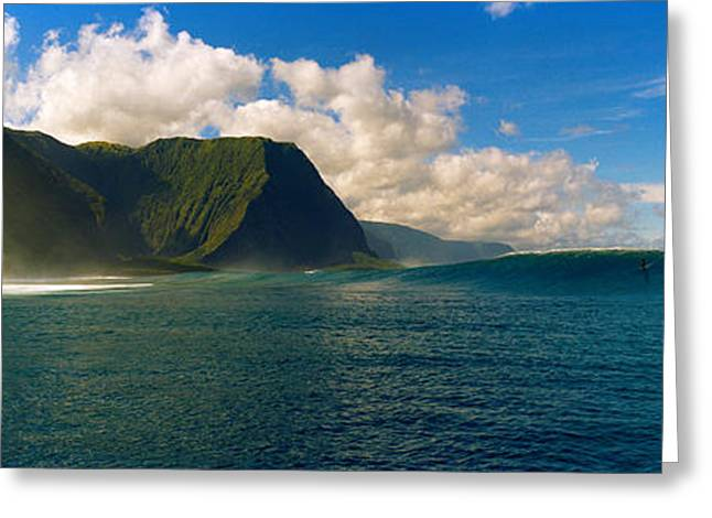 Molokai Greeting Cards - Rolling Waves With Mountains Greeting Card by Panoramic Images