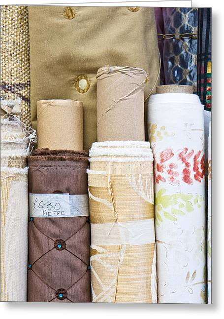 Vertical Abstract Art Greeting Cards - Rolls of fabric  Greeting Card by Tom Gowanlock