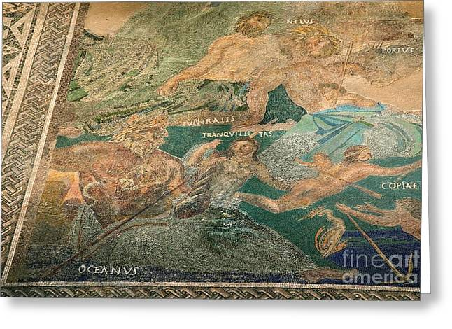 Cosmological Greeting Cards - Roman Cosmological Mosaic Greeting Card by Sheila Terry