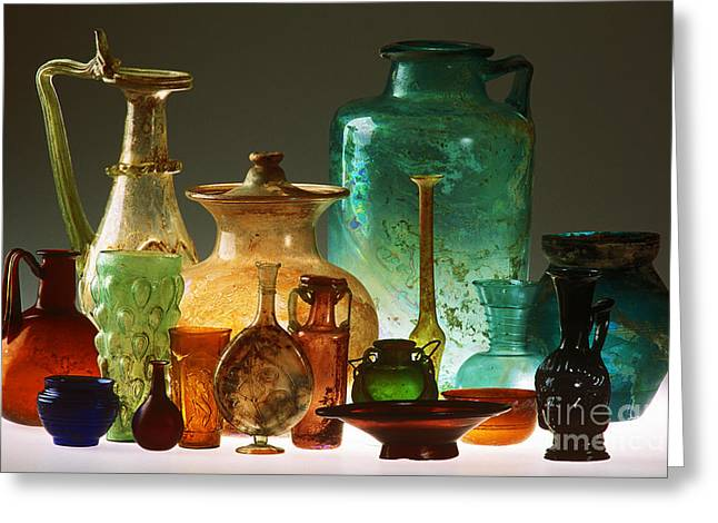 Glass Vase Greeting Cards - Roman Glass Greeting Card by James L. Amos