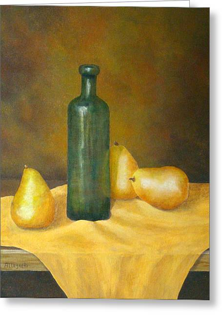 Fruit And Wine Greeting Cards - Roman Table Greeting Card by Pamela Allegretto