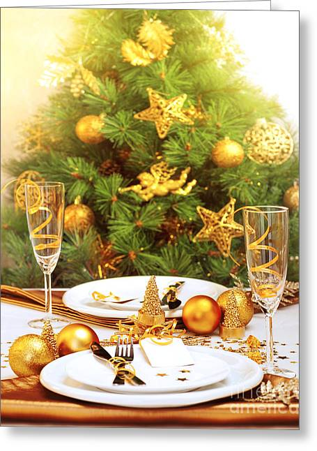 Indoor Still Life Greeting Cards - Romantic Christmastime dinner Greeting Card by Anna Omelchenko