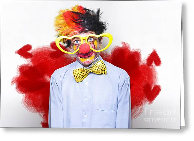 Bowtie Greeting Cards - Romantic Comedy Clown Wearing Heart Shape Glasses Greeting Card by Ryan Jorgensen