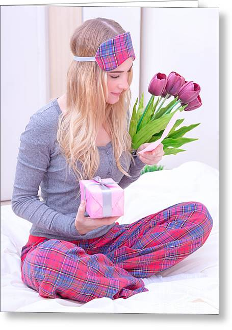 Pajamas Greeting Cards - Romantic morning in Valentine day Greeting Card by Anna Omelchenko