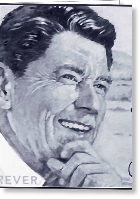 Conservative Greeting Cards - Ronald Reagan Greeting Card by Lanjee Chee