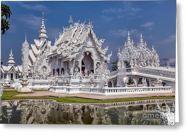 Hdr Digital Greeting Cards - Rong Khun Temple Greeting Card by Adrian Evans