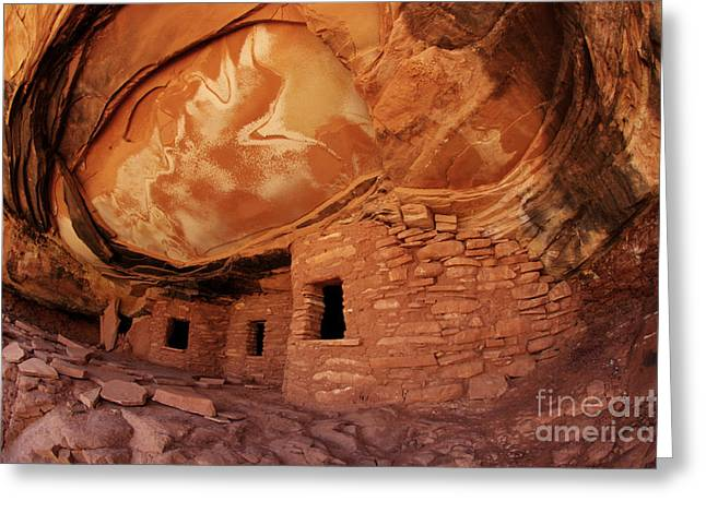 Cliff Dwellings Greeting Cards - Roof Falling In Ruin Greeting Card by Bob Christopher
