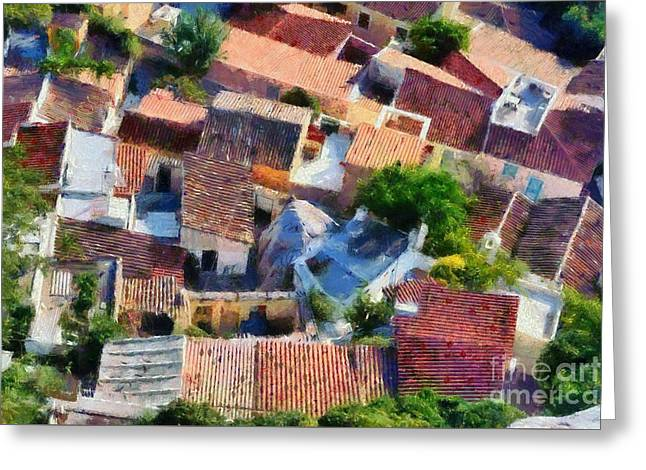 Houses Greeting Cards - Rooftops Greeting Card by George Atsametakis