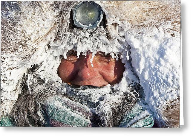 Iditarod Greeting Cards - Rookie Michelle Phillips Is Frosted Up Greeting Card by Jeff Schultz