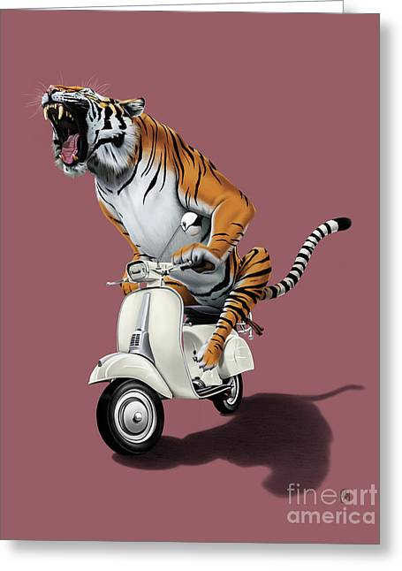 Tiger Illustration Greeting Cards - Rooooaaar Colour Greeting Card by Rob Snow