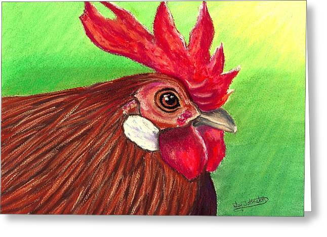 Rooster Pastels Greeting Cards - Rooster Up Close Greeting Card by Jay Johnston