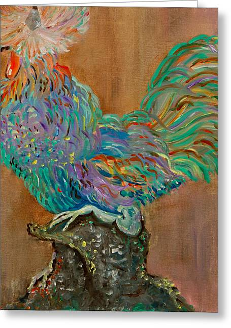 Bright Color Rooster Greeting Cards - Roosters Lounge Greeting Card by Ryanne Bevenger