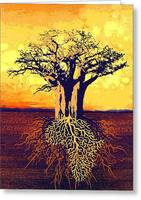 Tree Roots Mixed Media Greeting Cards - Roots Of Africa Greeting Card by Gideon Schutte