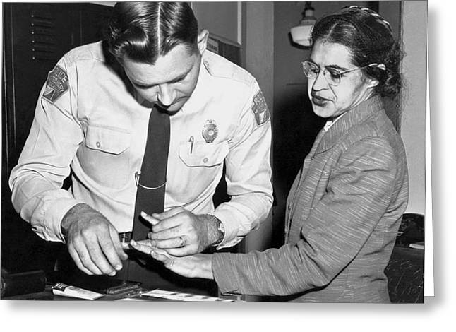 Dressmaker Greeting Cards - Rosa Parks Gets Fingerprinted Greeting Card by Underwood Archives