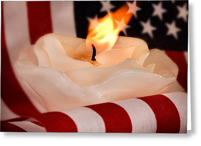 American Food Greeting Cards - Rose Candle on American Flag Greeting Card by Iris Richardson