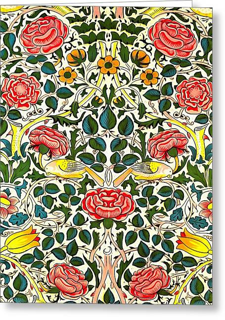 Mille Fleurs Greeting Cards - Rose Design Greeting Card by William Morris