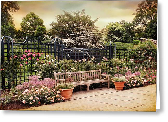 Trellis Greeting Cards - Rose Garden Trellis Greeting Card by Jessica Jenney