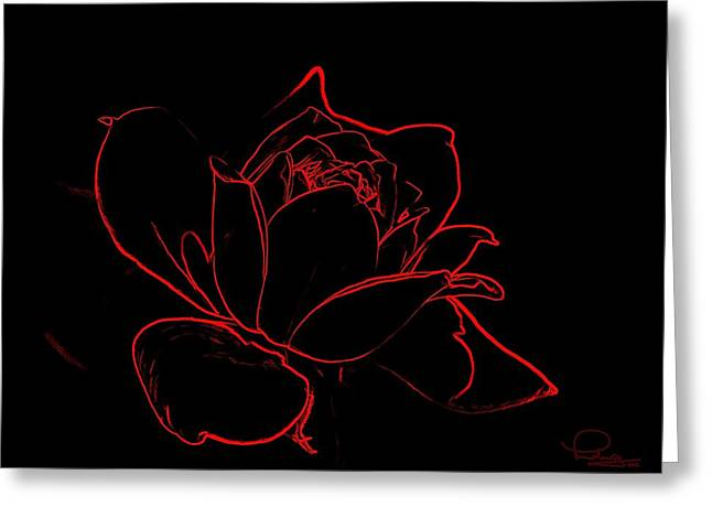 Cafe Art Greeting Cards - Rose Greeting Card by Ludwig Keck