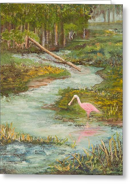 Pastureland Greeting Cards - Roseate Spoonbill Greeting Card by Annie St Martin