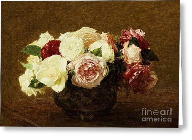 White Rose Greeting Cards - Roses Greeting Card by Ignace Henri Jean Fantin-Latour