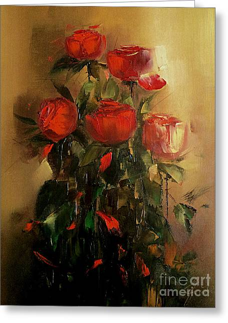 Pictura Greeting Cards - Roses Greeting Card by Nelu Gradeanu
