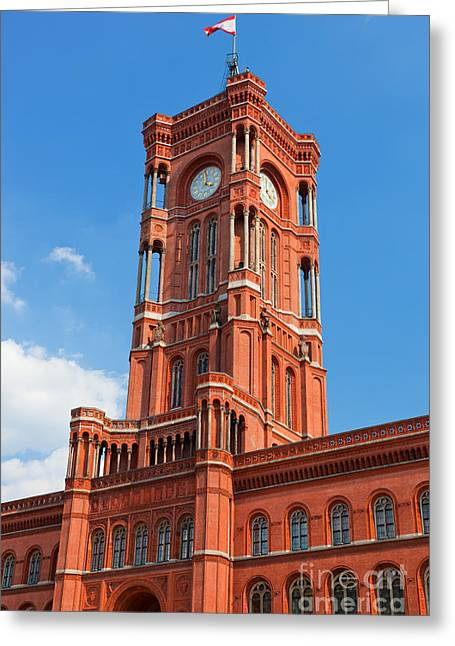 Berlin Germany Greeting Cards - Rotes Rathaus the town hall of Berlin Germany Greeting Card by Michal Bednarek
