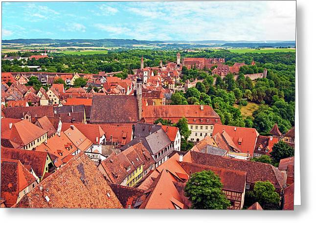 Rothenburg Ob Der Tauber, Bavaria Greeting Card by Miva Stock