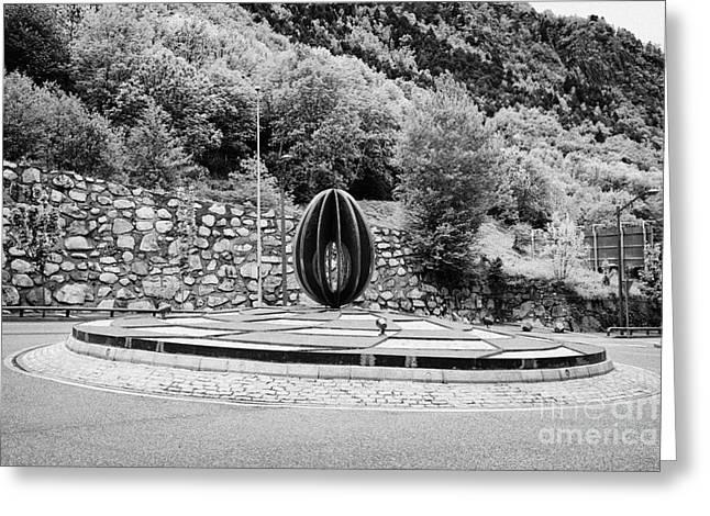 Roundabout Greeting Cards - Roundabout At Km 0 Start Of The Main Roads Andorra La Vella Andorra Greeting Card by Joe Fox