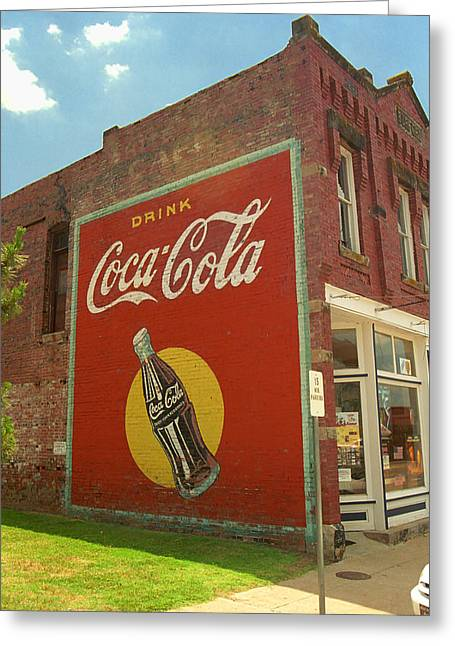 Coca-cola Mural Greeting Cards - Route 66 - Coca Cola Ghost Mural Greeting Card by Frank Romeo