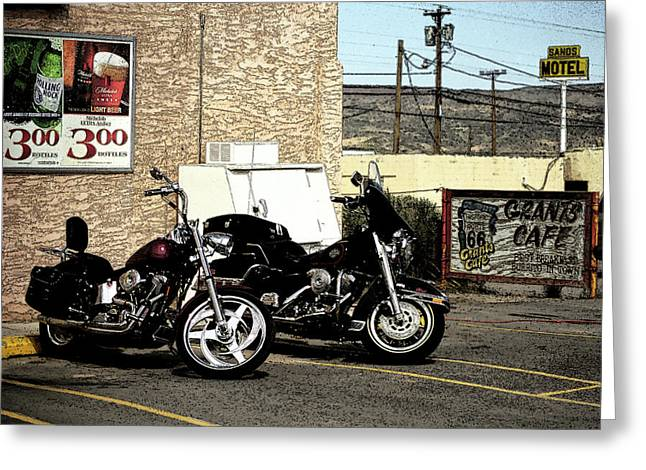 Motel Mixed Media Greeting Cards - Route 66 - Grants New Mexico Motorcycles Greeting Card by Frank Romeo