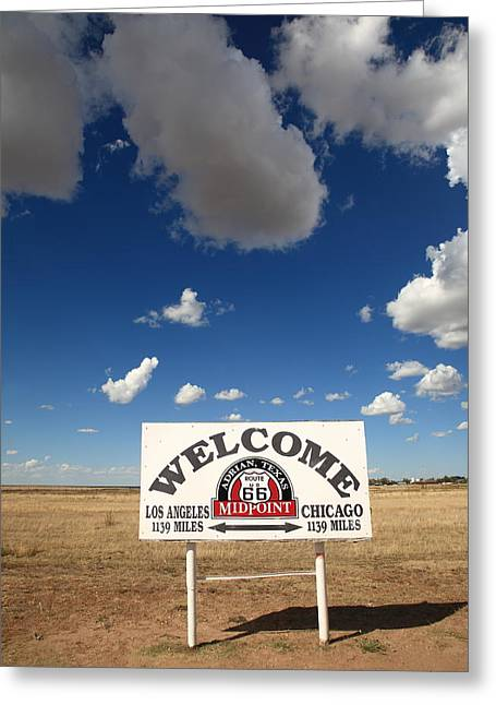 West Tx Greeting Cards - Route 66 - Midpoint Sign Greeting Card by Frank Romeo