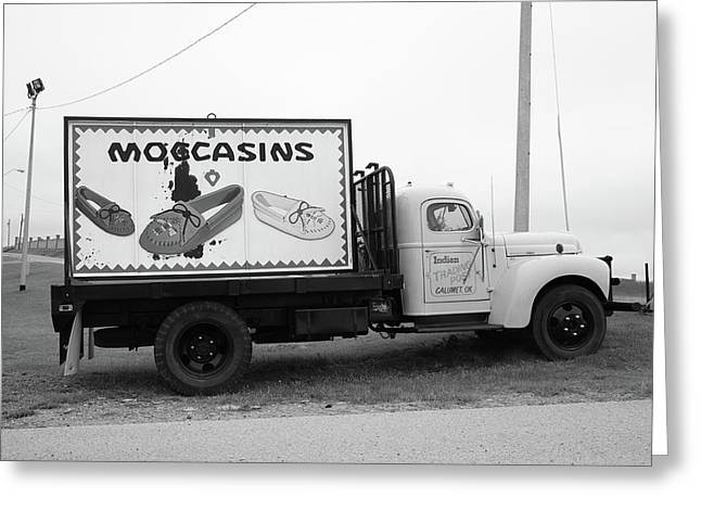Framed Auto Art Greeting Cards - Route 66 - Oklahoma Trading Post Truck Greeting Card by Frank Romeo