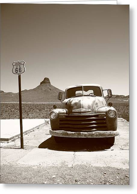 Sun Shield Greeting Cards - Route 66 - Old Chevy and Shield Greeting Card by Frank Romeo