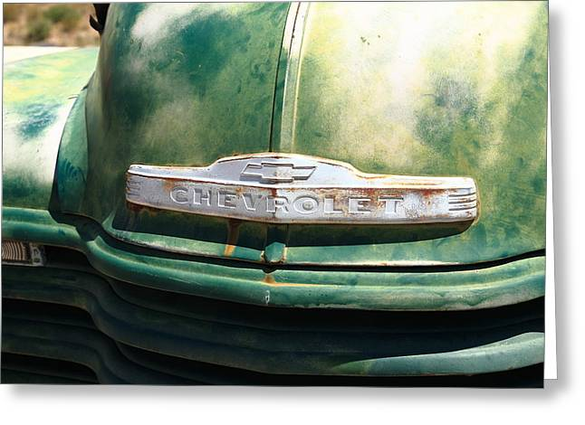 Framed Auto Art Greeting Cards - Route 66 - Old Green Chevy Greeting Card by Frank Romeo