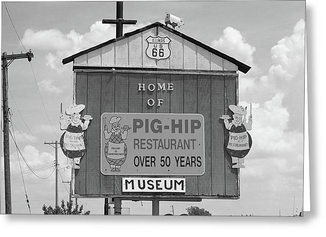 Black Pig Greeting Cards - Route 66 - Pig-Hip Restaurant Greeting Card by Frank Romeo