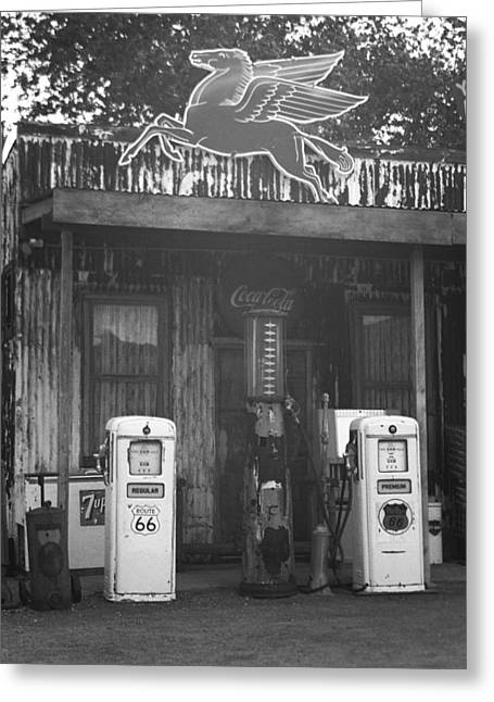 Historic Country Store Greeting Cards - Route 66 Vintage Pumps Greeting Card by Frank Romeo