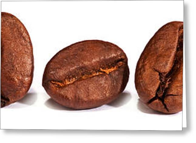 Row Of Coffee Beans Greeting Card by Iris Richardson