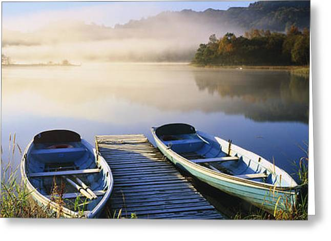 Water Vessels Greeting Cards - Rowboats At The Lakeside, English Lake Greeting Card by Panoramic Images