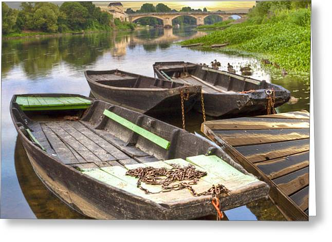 Rowboats on the French Canals Greeting Card by Debra and Dave Vanderlaan
