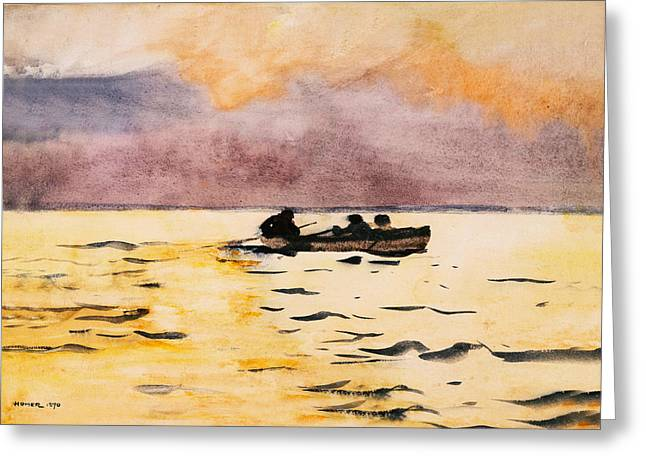 Pot Boat Greeting Cards - Rowing Home Greeting Card by Winslow Homer
