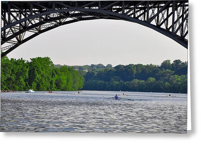 Rowing Crew Digital Art Greeting Cards - Rowing Under the Strawberry Mansion Bridge Greeting Card by Bill Cannon