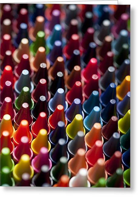 Abstract Style Greeting Cards - Rows of multicolored crayons  Greeting Card by Jim Corwin