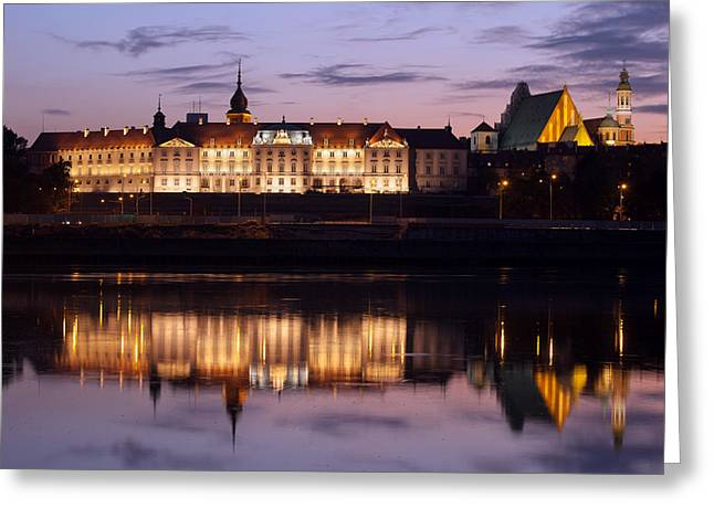 Polish Culture Greeting Cards - Royal Castle and Vistula River at Twilight in Warsaw Greeting Card by Artur Bogacki