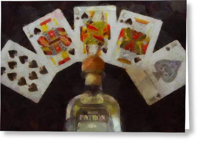 Chip Mixed Media Greeting Cards - Royal Flush Greeting Card by Dan Sproul
