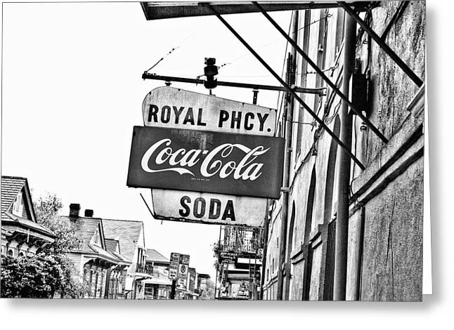 Ointment Greeting Cards - Royal Pharmacy Soda Sign Greeting Card by Scott Pellegrin