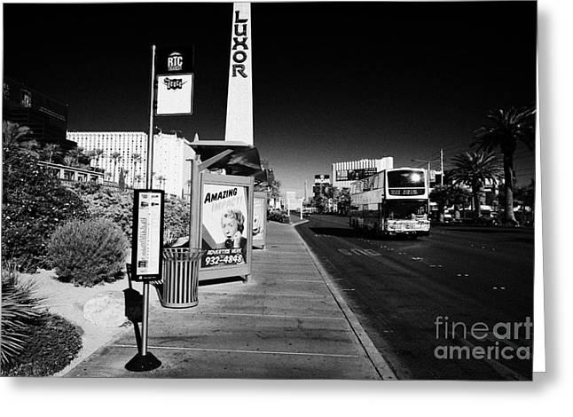 Busstop Greeting Cards - rtc deuce sdx bus stop outside the luxor hotel on Las Vegas boulevard Nevada USA Greeting Card by Joe Fox